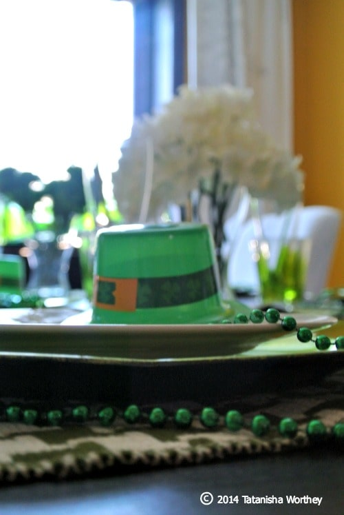 St. Patrick's Day table decor and centerpiece