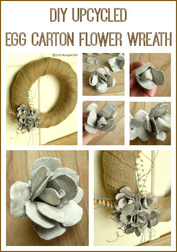 DIY Upcycled Egg Carton Flower Wreath - perfect for repurposing leftover egg cartons from Easter