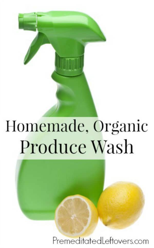 Homemade Organic Fruit and Vegetable Wash in spray bottle - An Easy DIY produce wash recipe using lemon and vinegar.
