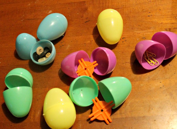 Sound activity for toddlers using plastic Easter eggs