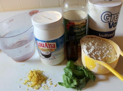 Ingredients for Homemade Lemon & Basil Play-Dough Recipe