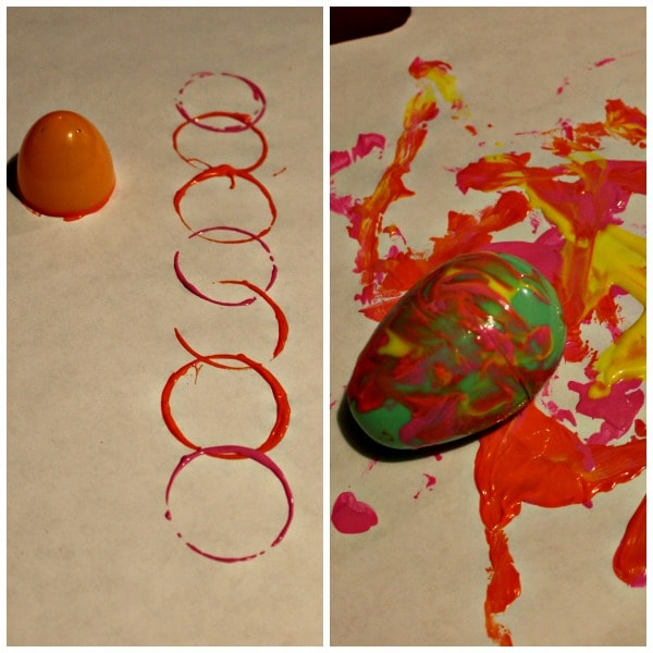 Painting activities using plastic Easter eggs