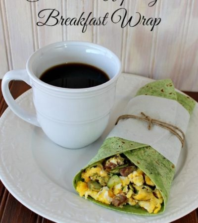 Spring Breakfast wrap with scrambled eggs, asparagus, and steak