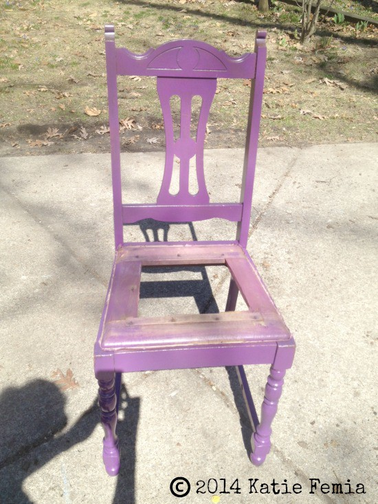 Purple chair planter for flowers - lovely porch decor!