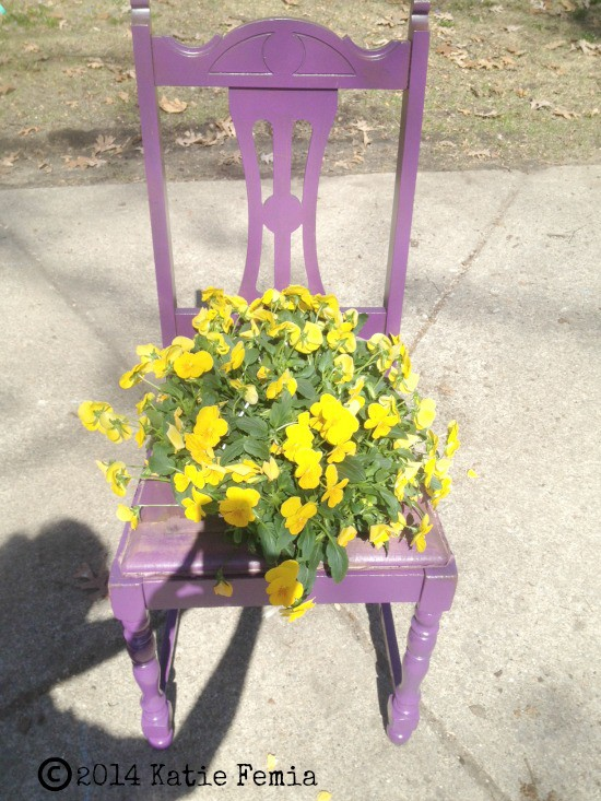 Easy Upcycled Chair Planter - just add flowers!