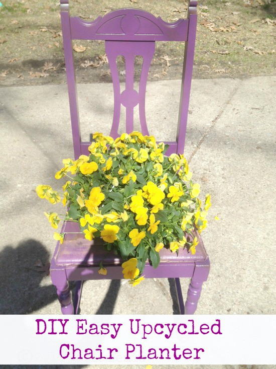 DIY Easy Upcycled Chair Planter - Here is an easy tutorial for reusing an an old chair and turning it into a planter to hold a flower pot.