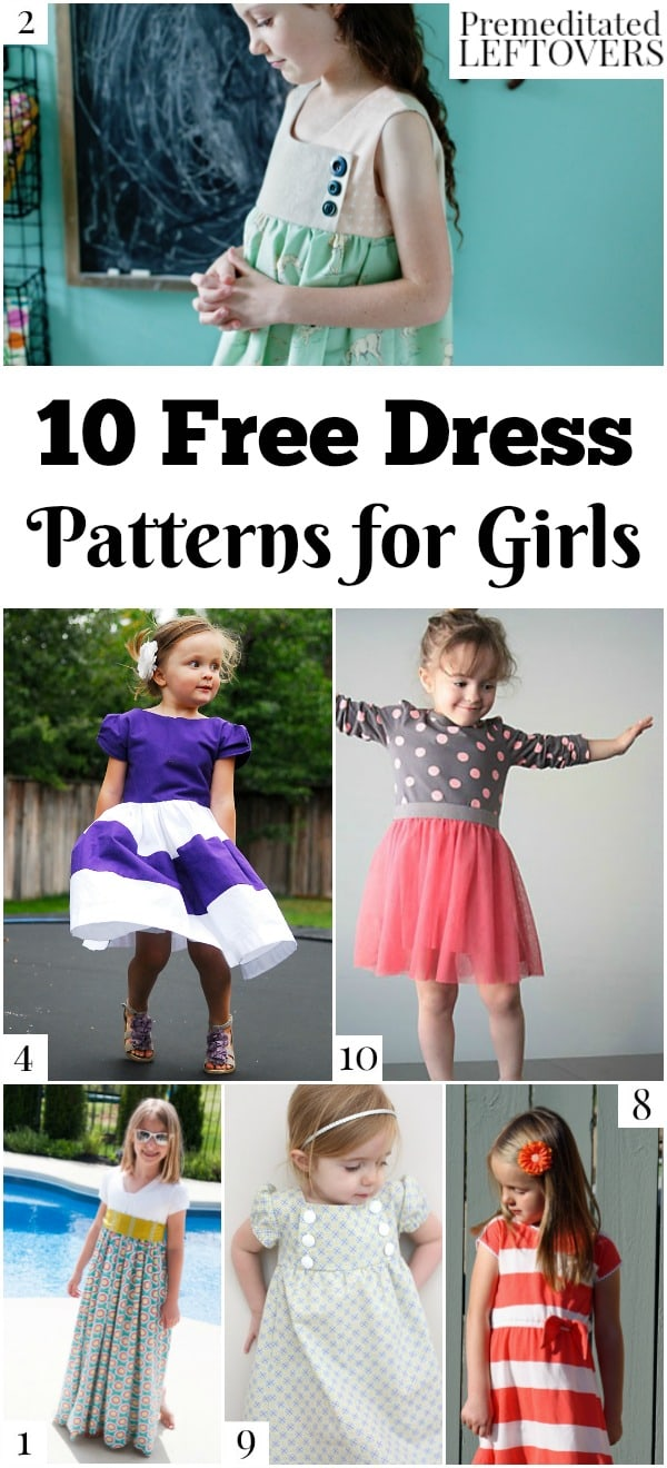 Save money on your child's wardrobe by using these 10 free dress patterns for girls, including pillowcase dress patterns, knit dress patterns, and more.