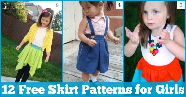 These 12 free skirt patterns for girls include maxi-skirts, ballet wraps, reversible skirts, ruffle skirts, and no-pattern skit tutorials.