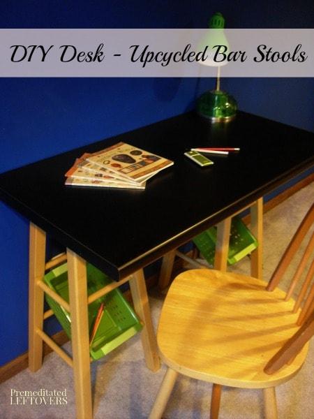 Diy Desk Upcycled Bar Stools
