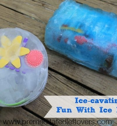 Ice-Cavating: Summer Fun with Ice Blocks - How to create fun ice blocks for your children by placing toys in water, freezing and then letting them excavate.