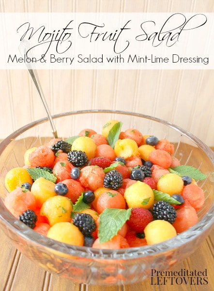 Mojito Fruit Salad: Watermelon & Berry Salad with Mint-Lime Dressing - A fruit salad made of watermelon, cantaloupe, and berries flavored with mint and lime.