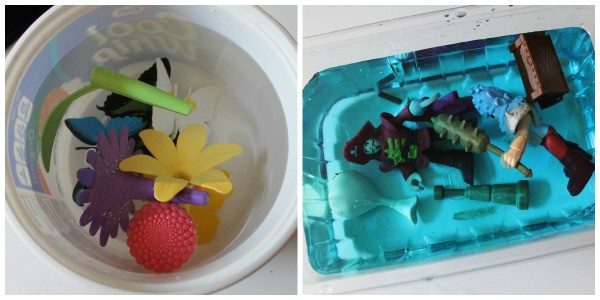 creating a fun ice block for kids by placing toys in water and freezing