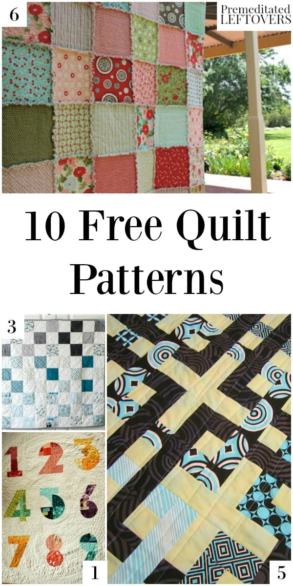 10 Free Quilt Patterns that you can make for your home, including scrap fabric quilts, t-shirt quilts, baby quilts, and quilt tutorials.
