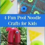 Pool noodle crafts for kids, including pool noodle tic-tac-toe and pool noodle nunchucks