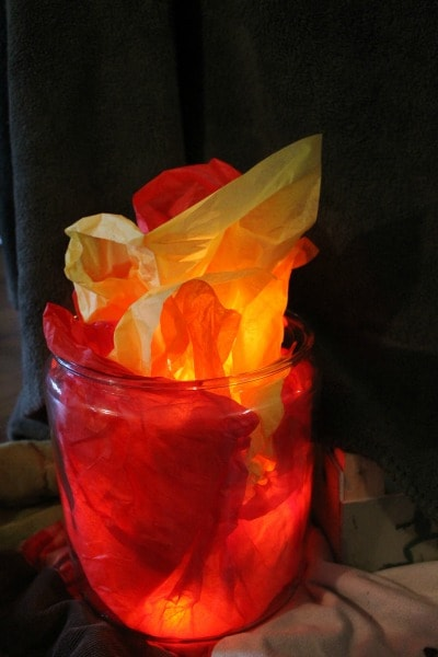 How to make a faux camp fire for your kids