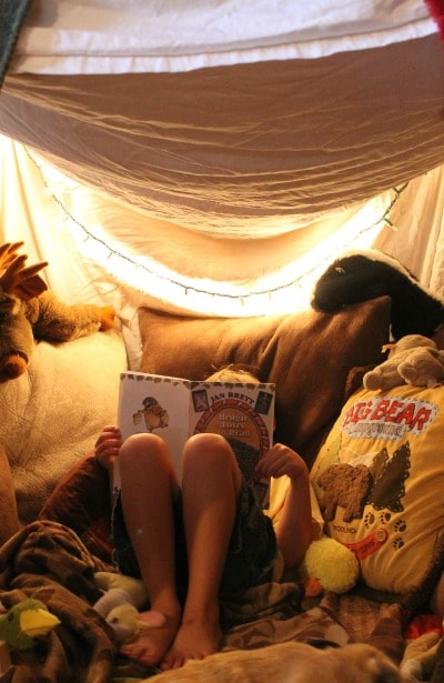 Create A Fort With Sheet To Make An Indoor Camp Out For Kids