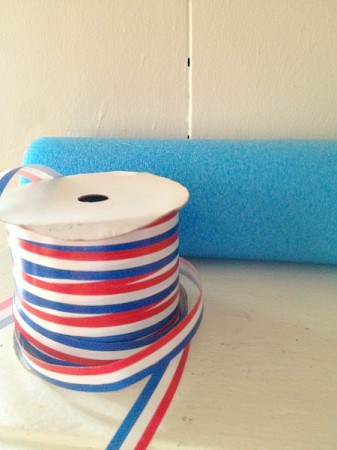 Items needed to make Patriotic Pool Noodle Garland