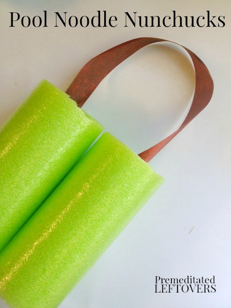 Pool Noodle Nunchucks - a frugal craft for kids using pool noodles