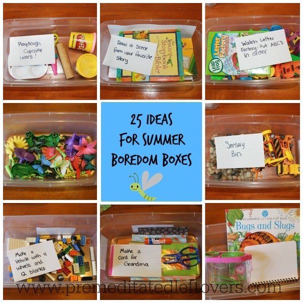 25 Ideas for Summer Boredom Boxes for Kids - Here are 25 ideas to keep your kids busy - perfect for days when your kids can't think of anything to do.