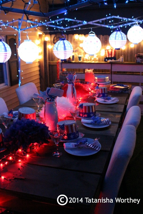 patriotic table at night