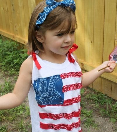 How to Make a No-Sew Patriotic Tank and Headband - Directions for making a child's flag top for the 4th of July. Easy DIY project; no sewing required.