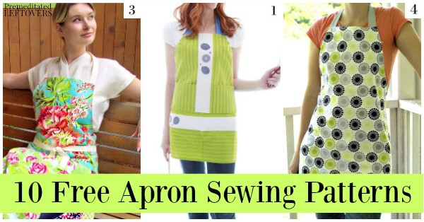 Save money and protect your clothing with these 10 free apron patterns, including reversible aprons, aprons made from sewing scraps, and more!