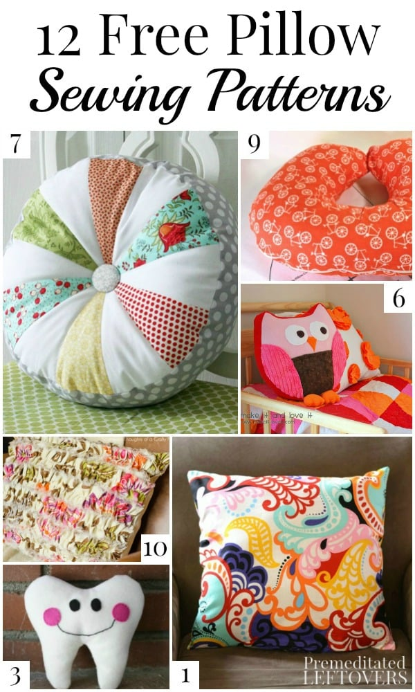 These 12 free pillow patterns and pillow cover patterns would make great additions to your home decor or unique homemade gifts!