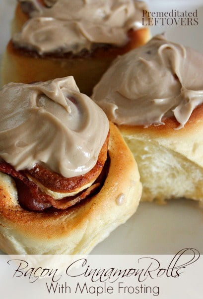 Maple Bacon Cinnamon Rolls with Cinnamon Frosting