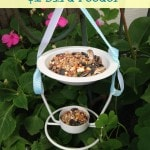 Dollar Store DIY: $1 Bird Feeder. Use a dollar store oil burner and leftover ribbon and paint from your craft bin to create to make this bird feeder.