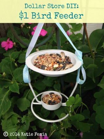 Dollar Store DIY: $1 Bird Feeder Tutorial. Use a dollar store oil burner and leftover ribbon and paint from your craft bin to make this bird feeder.