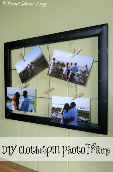 DIY Clothespin Photo Frame - This is a frugal and easy to make clothespin craft project. This clothespin photo frame lets you display multiple photos.