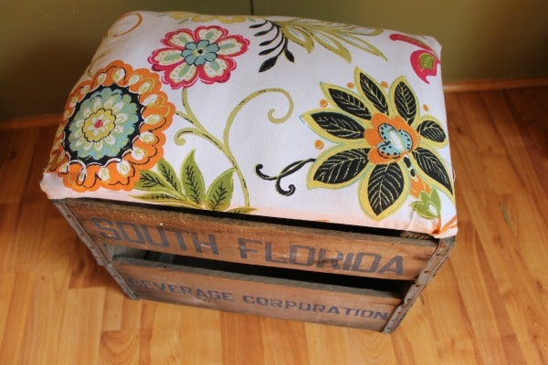 Finished ottoman made from an old crate.