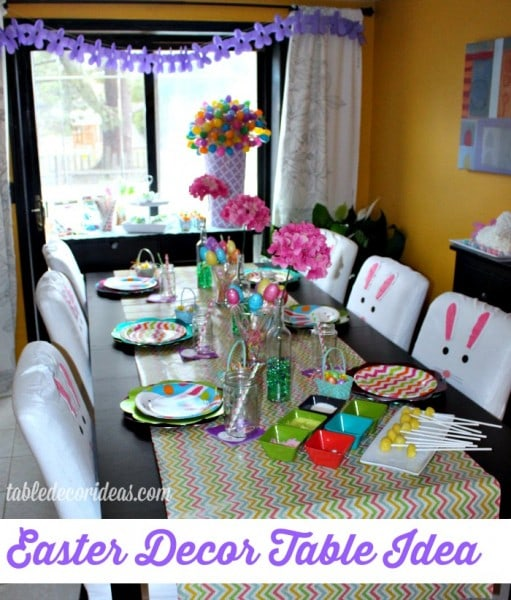 Easter Decor Table Idea Using Wrapping Paper As A Table Runner