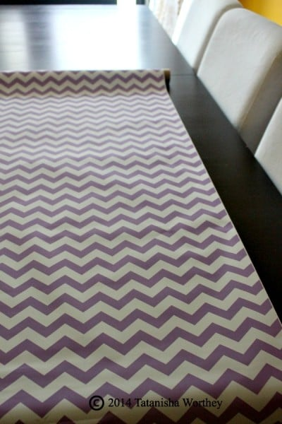 Purple And White Chevron Table Runner Created From Wrapping Paper