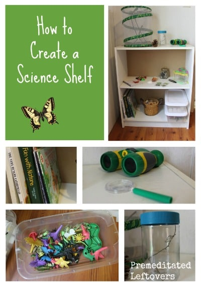 How to Create a DIY science shelf - fun ideas for how to create a science learning station for your kids that will inspire, educate, and entertain them.