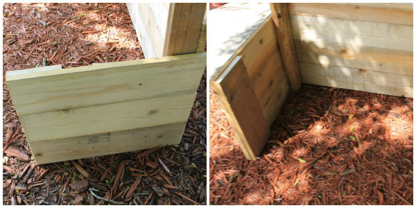 side view of  Upcycled Pallet Puppet Theater for kids