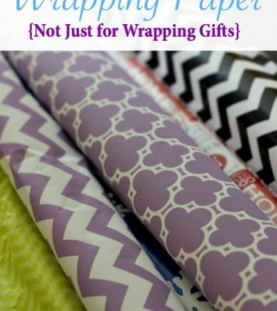 Using wrapping paper to cover tables - Wrapping paper not just for wrapping gifts