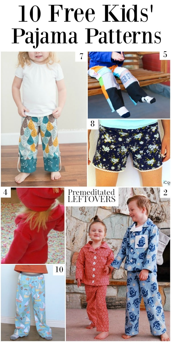 10 Free Kids' Pajama Patterns - a round up of free pajama patterns for boys, free nightgown for girls, and free pajama patterns for girls.