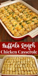 Buffalo Ranch Chicken Casserole Recipe with Tater tots