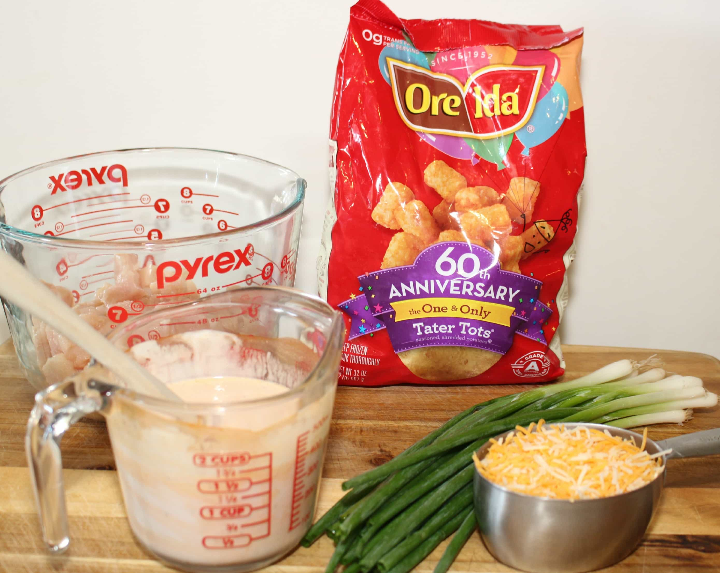 Ingredients for Buffalo Ranch Chicken tater tot casserole