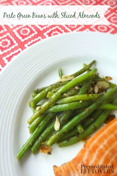 A quick and easy recipe for Pesto Green Beans with Sliced Almonds. Spice up your green beans by adding pesto and almonds next time you cook green beans.