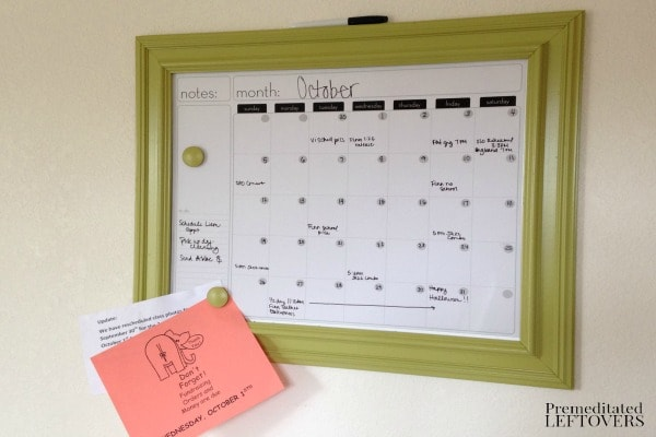 Diy vintage frame dry erase calendar more diy organizing projects solutioingenieria Image collections