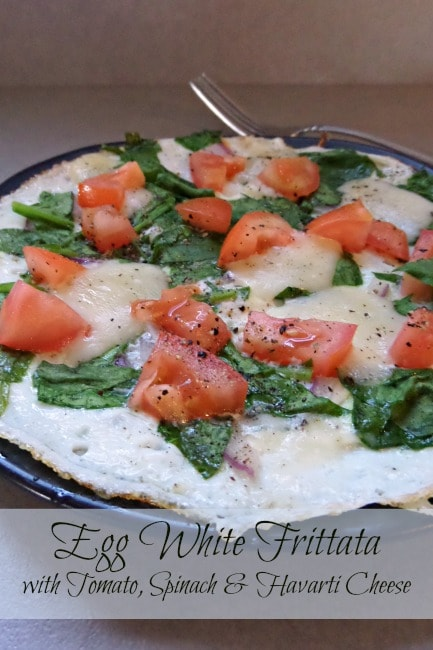 Tomato and Spinach Frittata with Havarti Cheese- This egg white frittata is a cinch to make. Load it with spinach, red onion, tomatoes, and Havarti cheese.