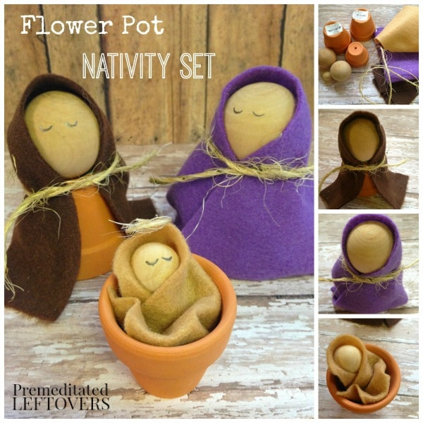 Easy diy flower pot nativity set tutorial for Nativity crafts to make
