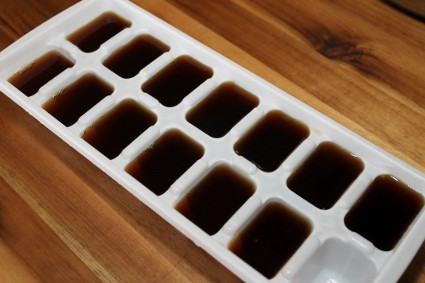 Freeze leftover coffee in ice-cubes