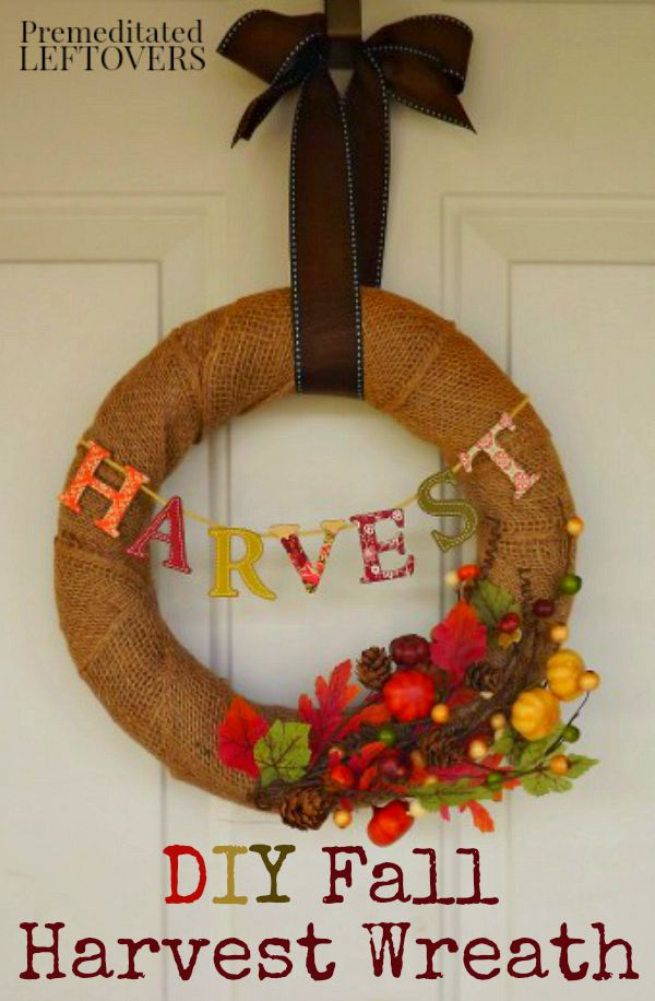 DIY Fall Harvest Wreath - Use this tutorial to make this quick and easy autumn harvest wreath. Hang this fall wreath on your front door or inside your home.