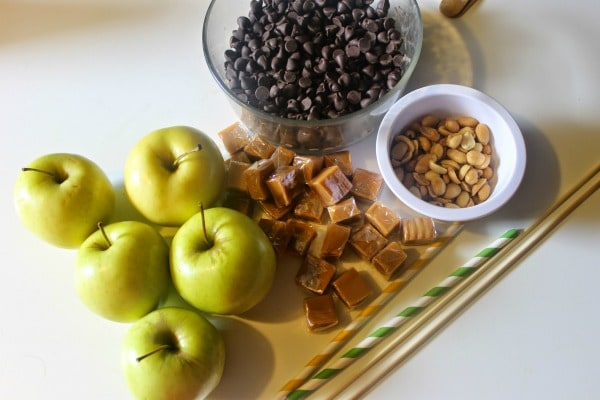 Ingredients for Snickers Inspired Caramel Apple