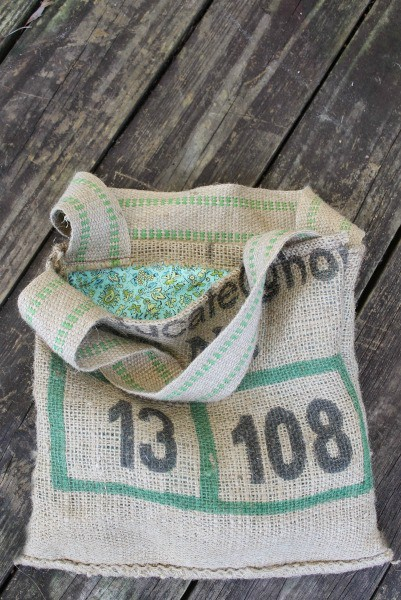 upcycled burlap coffee bag purse