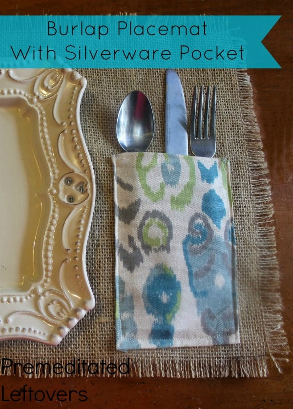 burlap placemat with silverware pocket