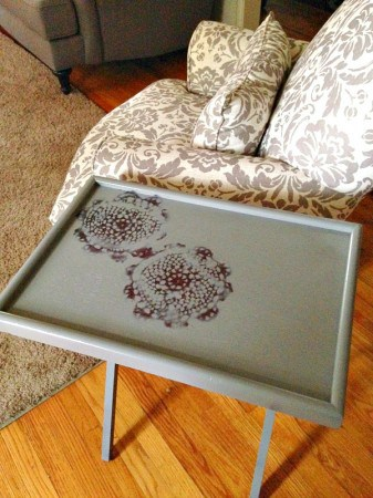 Diy Lace Stenciled Tv Tray Tutorial